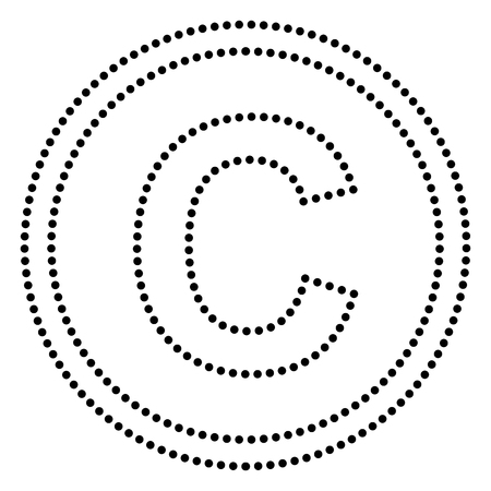 duplication: Copyright sign illustration. Dot style or bullet style icon on white.