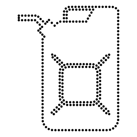 jerry: Jerrycan oil sign. Jerry can oil sign. Dot style or bullet style icon on white. Illustration