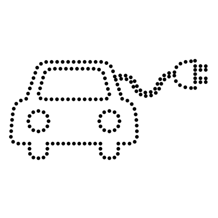 echnology: Eco electric car sign. Dot style or bullet style icon on white.