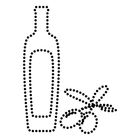 salad dressing: Black olives branch with olive oil bottle sign. Dot style or bullet style icon on white.