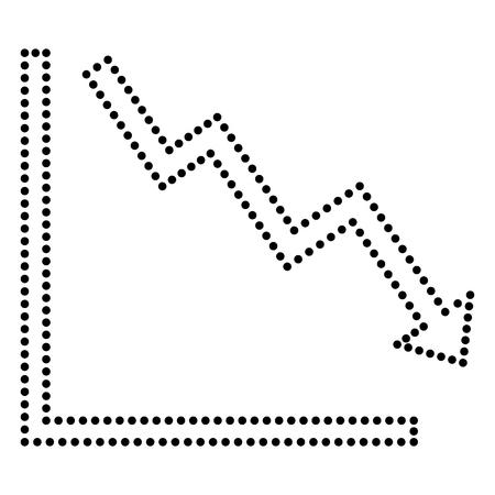 downwards: Arrow pointing downwards showing crisis. Dot style or bullet style icon on white.