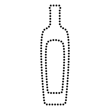 salad dressing: Olive oil bottle sign. Dot style or bullet style icon on white.