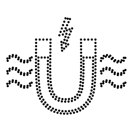 electromagnetic: Magnet with magnetic force indication. Dot style or bullet style icon on white.
