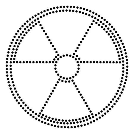 Radiation Round sign. Dot style or bullet style icon on white. Illustration