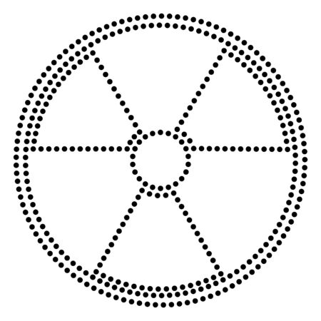 radiological: Radiation Round sign. Dot style or bullet style icon on white. Illustration
