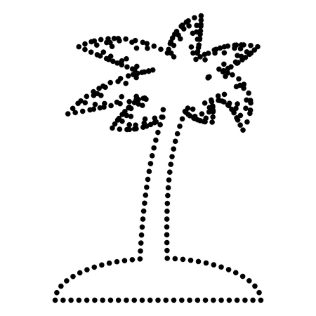 coco: Coconut palm tree sign. Dot style or bullet style icon on white. Illustration