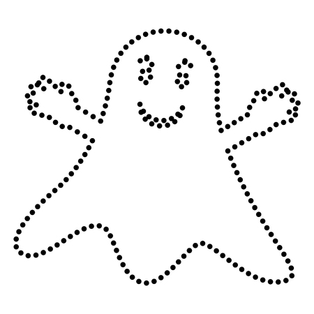 ghastly: Ghost isolated sign. Dot style or bullet style icon on white.