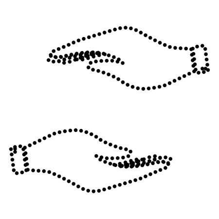 www arm: Hand sign illustration. Dot style or bullet style icon on white.