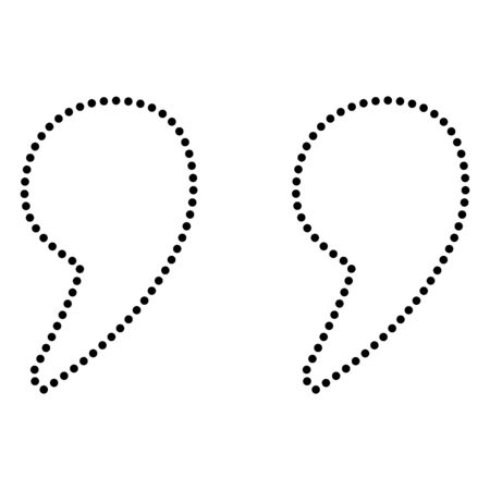citing: Quote sign illustration. Dot style or bullet style icon on white.