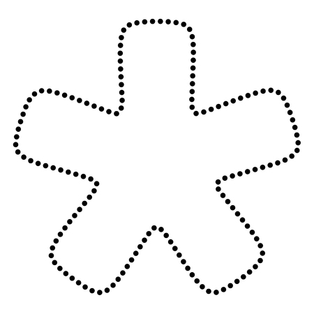 reference point: Asterisk star sign. Dot style or bullet style icon on white.