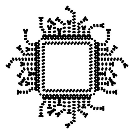 microprocessor: CPU Microprocessor illustration. Dot style or bullet style icon on white.
