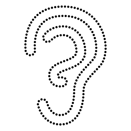deafness: Human ear sign. Dot style or bullet style icon on white.
