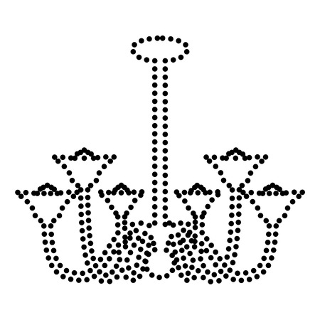 castle interior: Chandelier simple sign. Dot style or bullet style icon on white.