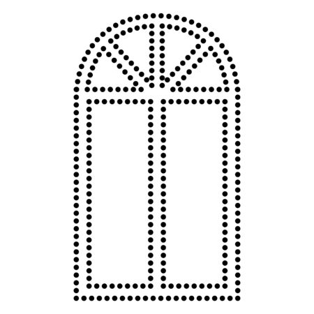 architectural styles: Window simple sign. Dot style or bullet style icon on white. Illustration