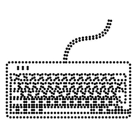 put the key: Keyboard simple sign. Dot style or bullet style icon on white.