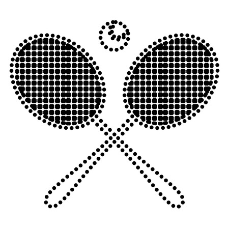 Tennis racket sign. Dot style or bullet style icon on white.