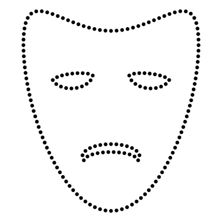 tragedy: Tragedy theatrical masks. Dot style or bullet style icon on white.