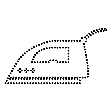 smoothing: Smoothing Iron sign. Dot style or bullet style icon on white.