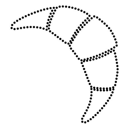 www tasty: Croissant simple sign. Dot style or bullet style icon on white.