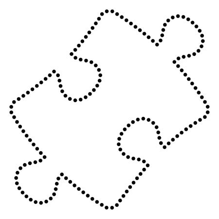 conundrum: Puzzle piece sign. Dot style or bullet style icon on white. Illustration