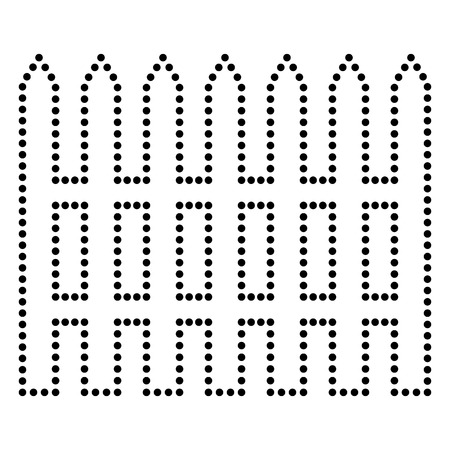dissociation: Fence simple sign. Dot style or bullet style icon on white.