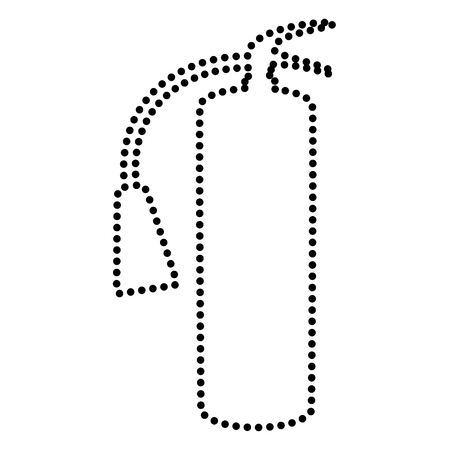 Fire extinguisher sign. Dot style or bullet style icon on white.