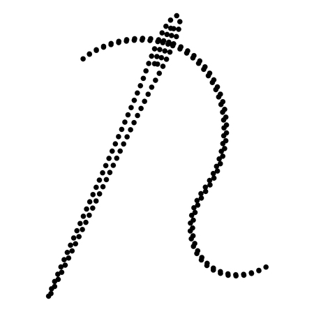 sewing needle: Needle with thread. Sewing needle, needle for sewing. Dot style or bullet style icon on white. Illustration