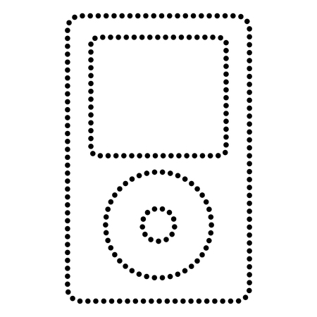 mp: Portable music device. Dot style or bullet style icon on white. Illustration