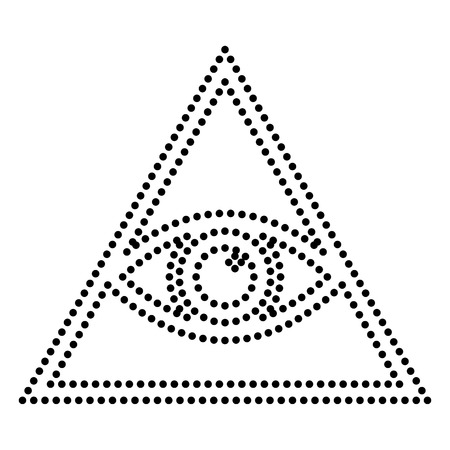 new world order: All seeing eye pyramid symbol. Freemason and spiritual. Dot style or bullet style icon on white.