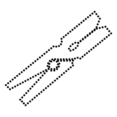 clothespeg: Clothes peg sign. Dot style or bullet style icon on white. Illustration