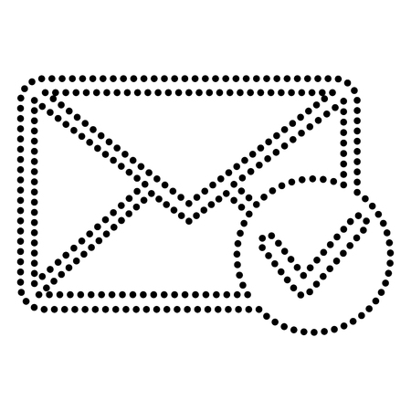 allow: Mail sign illustration with allow mark. Dot style or bullet style icon on white.