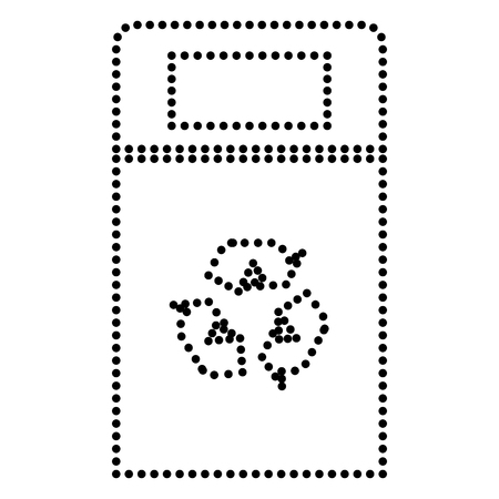 trashcan: Trashcan sign illustration. Dot style or bullet style icon on white.