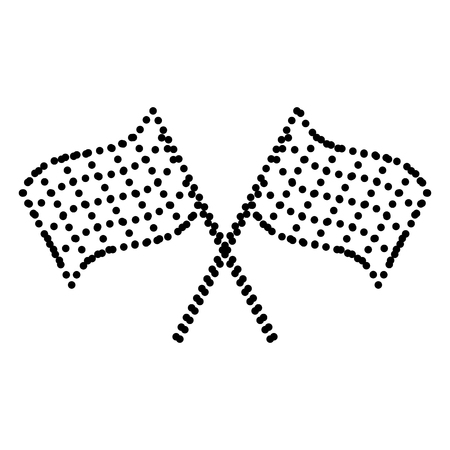 crossed checkered flags: Crossed checkered flags logo waving in the wind conceptual of motor sport. Dot style or bullet style icon on white.