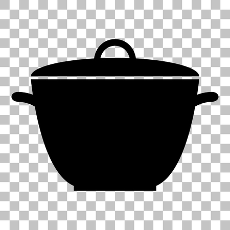 saucepan: Saucepan simple sign. Flat style black icon on transparent background.