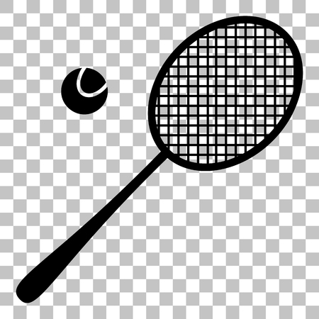 racquet: Tennis racquet sign. Flat style black icon on transparent background.