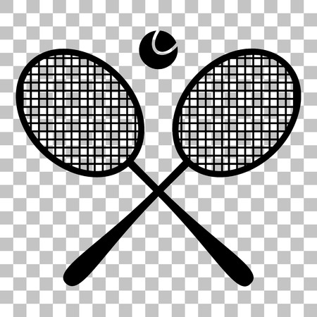Tennis racket sign. Flat style black icon on transparent background.