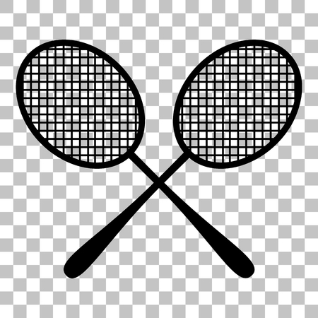 titanium: Tennis racquets sign. Flat style black icon on transparent background. Illustration