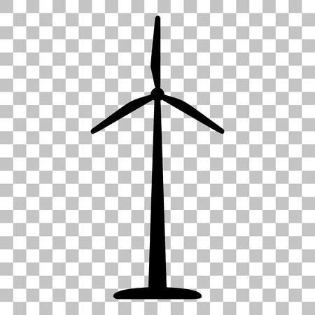Turbiny wiatrowe logo lub znak. Mieszkanie w stylu Czarna ikona na przezroczystym tle. Logo