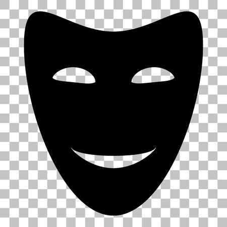 comedy: Comedy theatrical masks. Flat style black icon on transparent background.