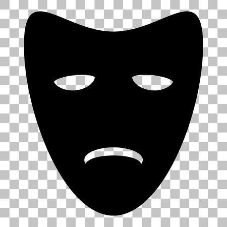 tragedy: Tragedy theatrical masks. Flat style black icon on transparent background.
