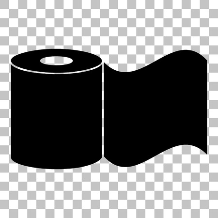 bath room: Toilet Paper sign. Flat style black icon on transparent background. Illustration