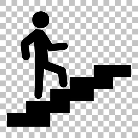 Man on Stairs going up. Flat style black icon on transparent background. Stock Illustratie