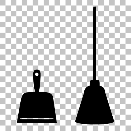 whisk broom: Dustpan vector sign. Scoop for cleaning garbage housework dustpan equipment. Flat style black icon on transparent background.
