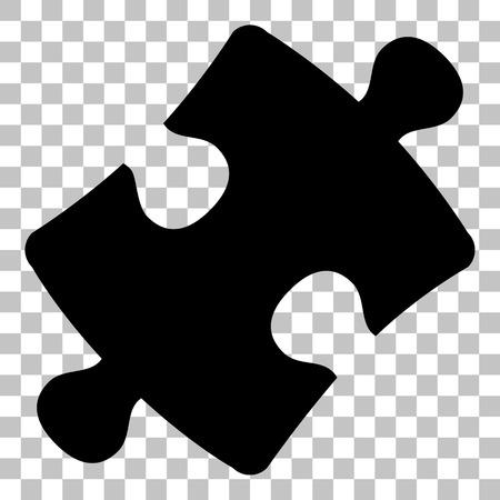 Puzzle Stück Zeichen. Wohnung Stil schwarze Symbol auf transparentem Hintergrund.