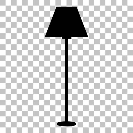 Lamp simple sign. Flat style black icon on transparent background. Иллюстрация