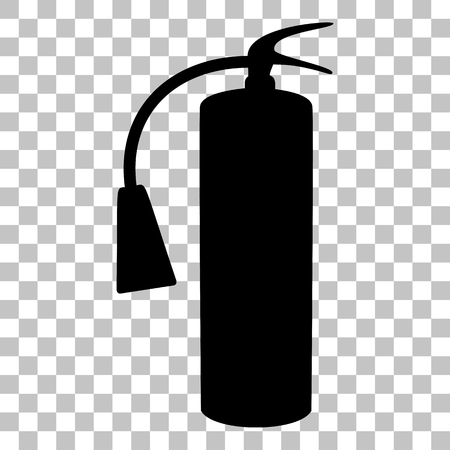 Fire extinguisher sign. Flat style black icon on transparent background. Ilustração