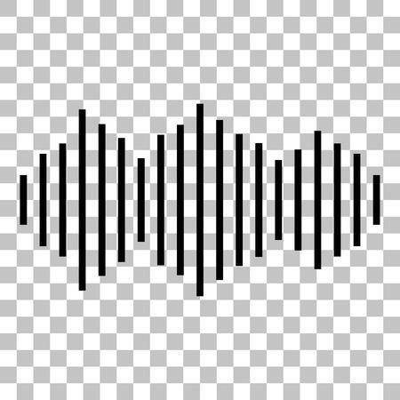 vibrations: Sound waves icon. Flat style black icon on transparent background. Illustration