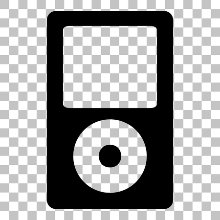 mp: Portable music device. Flat style black icon on transparent background.