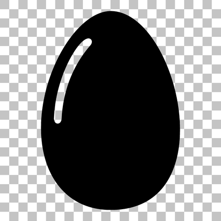 chiken: Chiken egg sign. Flat style black icon on transparent background. Illustration