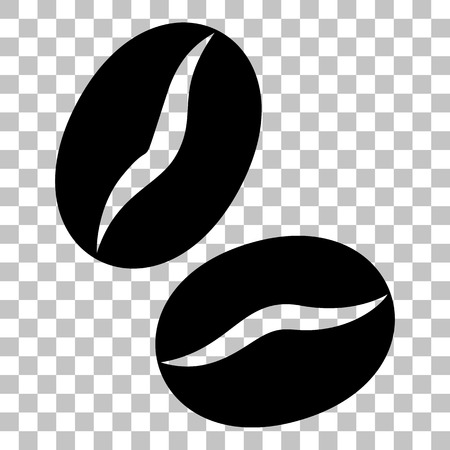 Coffee beans sign. Flat style black icon on transparent background. Ilustração